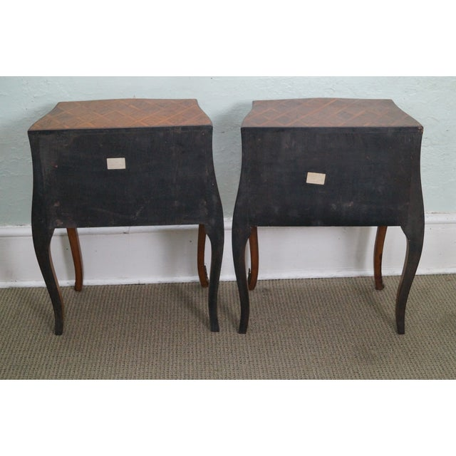 Vintage Italian Bombe Walnut Commodes Chests - Image 4 of 10