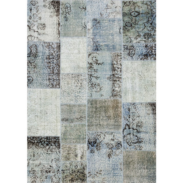 "Overdyed Gray Patchwork Rug- 4' 9"" X 6' 8"" - Image 1 of 2"