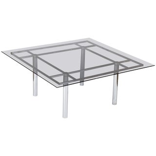 Tobia Scarpa Large Square Chrome Dining Table for Knoll Model André For Sale