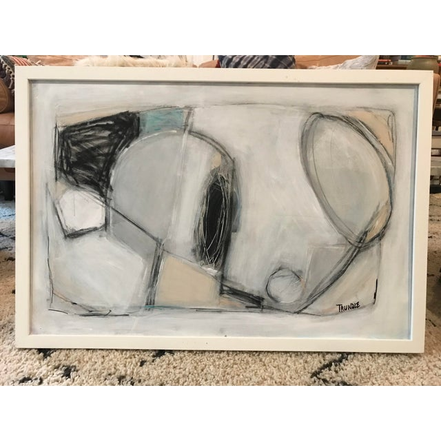 Acrylic, pastel, graphite, and charcoal on standard dept canvas, framed in a deep, boxy white framed which gives the piece...