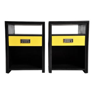 Gtc2 Pair of Campaign Bedside Chests by the Golden Triangle Chicago For Sale