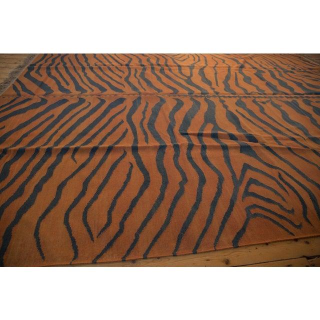 """Textile Vintage Indian Tiger Kilim Design Carpet - 9'1"""" X 12'1"""" For Sale - Image 7 of 9"""