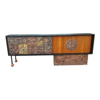 Mid Century Modern Walnut Credenza With Brutal Copper Tiles For Sale