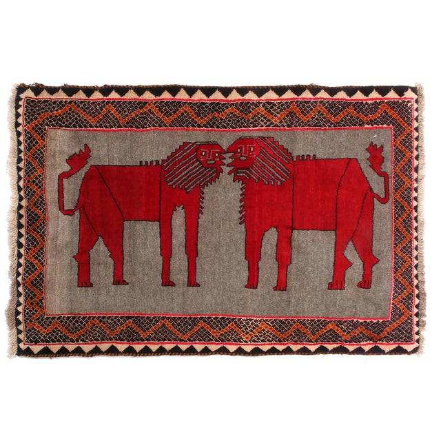 "1950's Vintage Gabbeh Lion Persian Rug-3'1'x5'9"" For Sale In New York - Image 6 of 6"