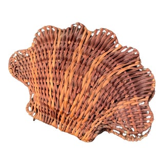 Vintage Rattan Clam Shell Hinged Container For Sale