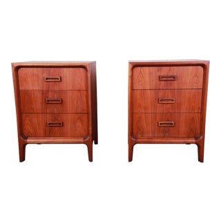 Widdicomb Mid-Century Modern Walnut Bachelor Chests or Large Nightstands For Sale