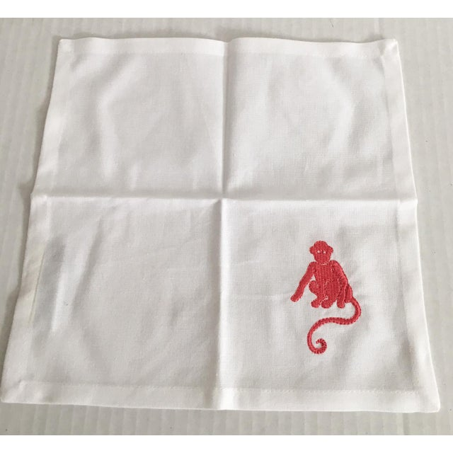 Pink Embroidered Monkey Cocktail Napkins - Set of 6 - Image 3 of 4