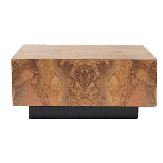 "1970s Vintage Burl Wood Coffee Table Floating Cube Pedestal Cocktail Table - 36"" For Sale - Image 5 of 13"