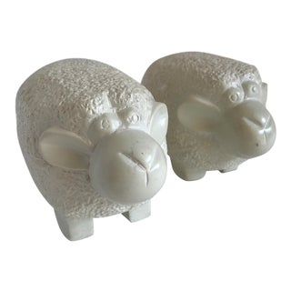 Stone Carved Sheep, Set of 2