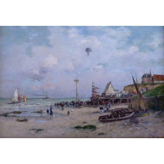 19th Century french impressionist coastal scene painting signature illegible circa mid 1800's measuring 25 inches long x...