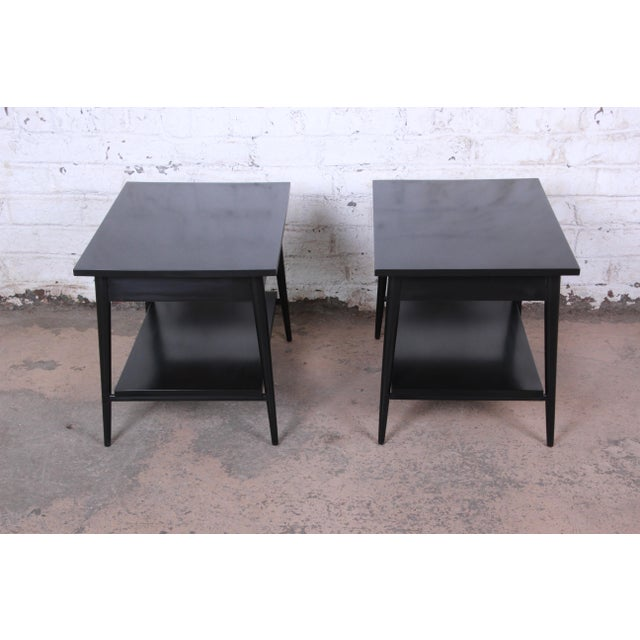 Paul McCobb Planner Group Ebonized Nightstands or End Tables, Pair For Sale - Image 11 of 13