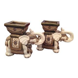 Vintage Terra Cotta Elephant Garden Pots, Planters Stands - a Pair For Sale
