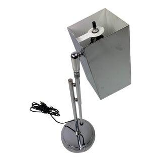 Mid-Century Robert Sonneman Style Cube Chrome Desk Lamp For Sale