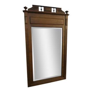 Early Victorian Tiger Oak Wall Bathroom Vanity Mirror For Sale
