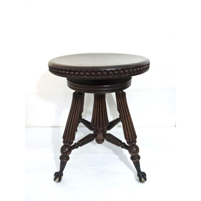 Victorian Tonk, Chicago & New York Mahogany Piano Stool With Ball & Claw Feet For Sale - Image 3 of 7