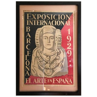 1929 Vintage Barcelona World's Fair Poster by Oleg Junyent For Sale