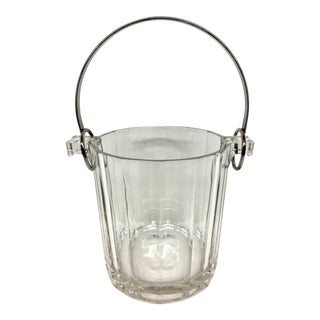 Italian Silver Plate Crystal Ice Bucket For Sale