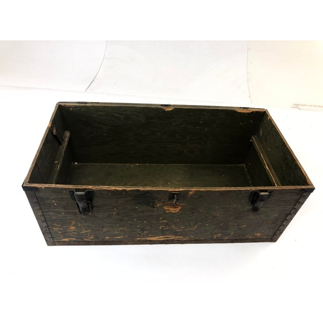 Green Vintage Military Green Wood Foot Locker Trunk For Sale - Image 8 of 12