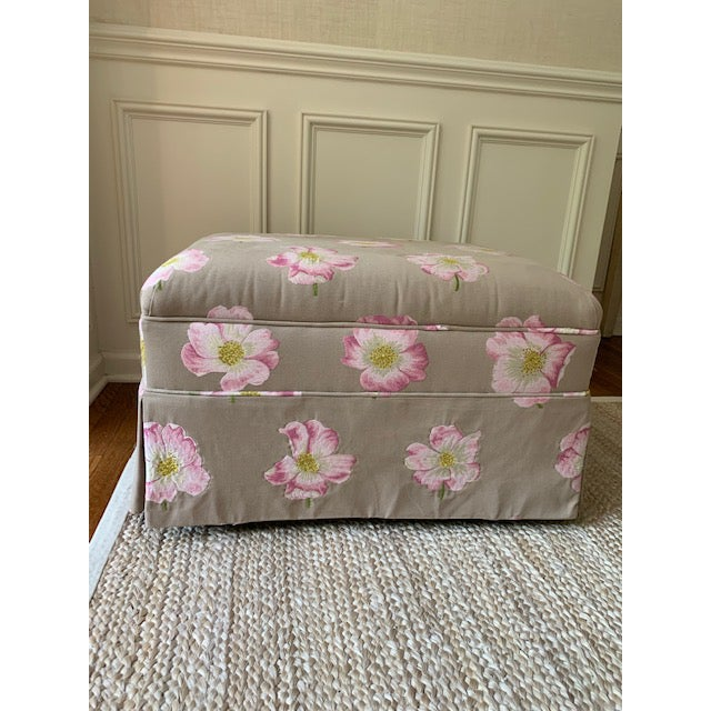"""Gorgeous """"Felcite"""" by Lorca upholstered bench/seat/ottoman. The ground is a greige with embroidered pink/lavender/orchid..."""