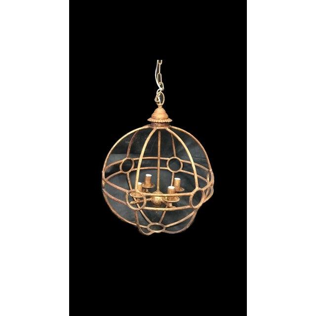 Rustic Italian Iron Globe Chandelier For Sale - Image 3 of 3