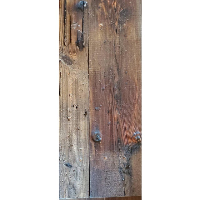 Antique Rustic American Country Farmhouse Wooden Bench For Sale - Image 10 of 11