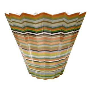 Fabienne Jouvin French Faience Missoni Style Chevron Bowl For Sale