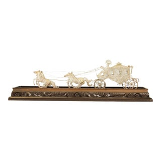 Sterling Silver Wire & Filigree Carriage with Driver and Four Horses, Carved Wood Base For Sale