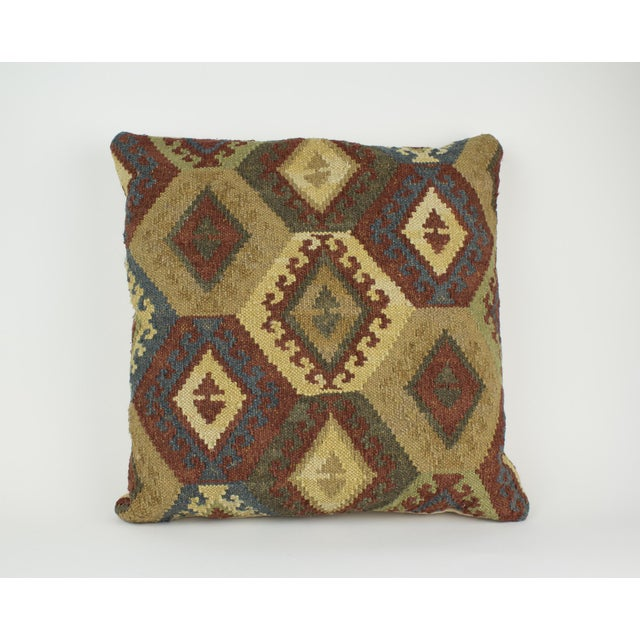 Brown and Blue Woven Kilim Pillow For Sale In New York - Image 6 of 8