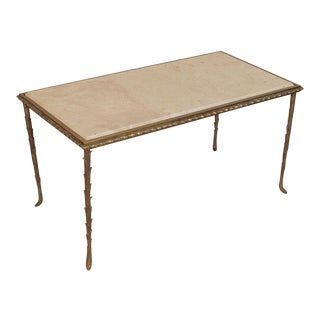 Vintage Mid-Century Brass & Marble Cocktail Table For Sale
