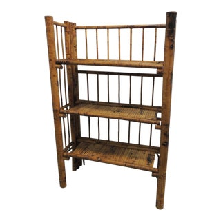 Antique English Country Faux Bamboo Folding Etagere