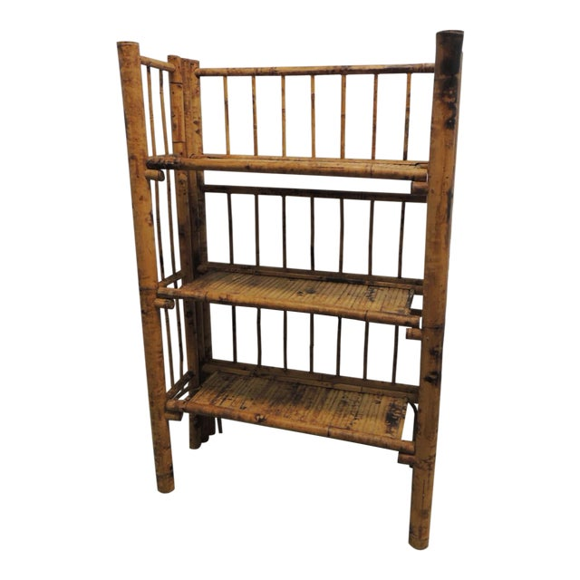Antique English Country Faux Bamboo Folding Etagere - Image 1 of 6