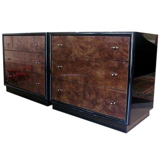 Henredon Black Lacquer and Burl Wood Chests - a Pair For Sale