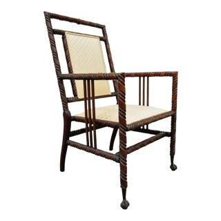 Antique Carved Barley Twist Ball & Claw Foot Mahogany Parlor Armchair