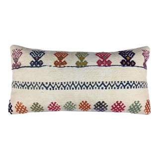 "Rug & Relic White Embroidery Kilim Lumbar Pillow | 12""x24"""