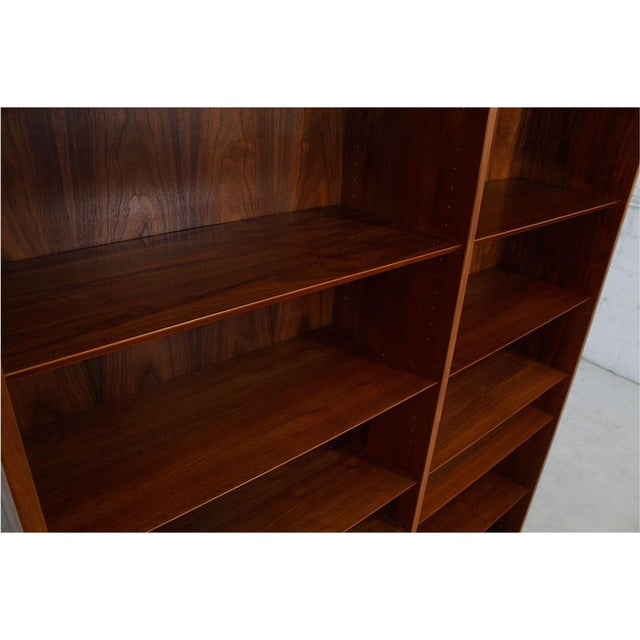 Danish Modern Double Bookcase with Adjustable Shelves in Walnut - Image 4 of 7