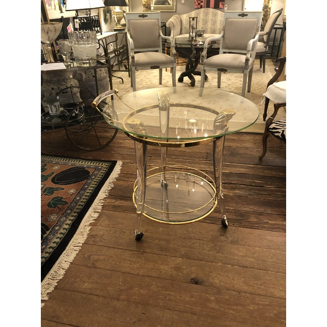French Lucite and Gold Plated Round Bar Cart For Sale - Image 9 of 12