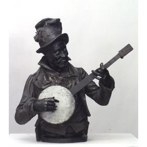 American Victorian style (late 19th Cent) metal bust of black banjo player wearing top hat with flowers on oval base (signed P. CALVI) For Sale - Image 9 of 9