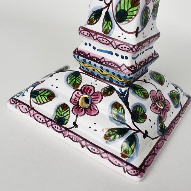 Late 20th Century Ceramic Floral Painted Portuguese Candlesticks in Pink and Green - a Pair For Sale - Image 5 of 6
