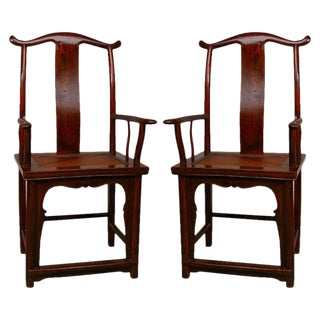 Pair of Chinese Official's Hat Armchairs For Sale