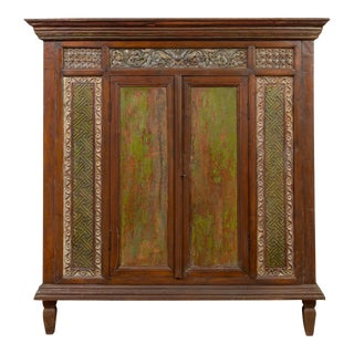 Large 19th Century Cabinet with Carved Floral Motifs and Distressed Verde Finish For Sale