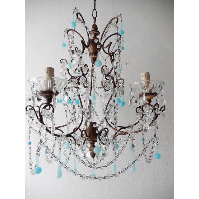 Blue French Robins Egg Blue Opaline Beaded Chandelier, circa 1890 For Sale - Image 8 of 12