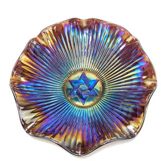 Antique Imperial Star of David Antique Carnival Art Glass Bowl For Sale