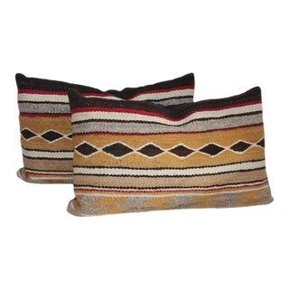 Navajo Indian Weaving Bolster Diamond Pillows - A Pair For Sale