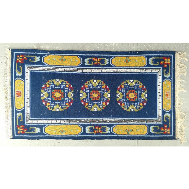 Late 20th Century Hand-Knotted Wool, Navy Blue Asian Rug - 2′12″ × 6′1″, Vintage For Sale - Image 5 of 6