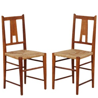 Pair of Small Arts & Crafts Oak Side Chairs For Sale