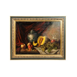 Fruits Still Life Oil / Canvas Painting in Wood Frame For Sale