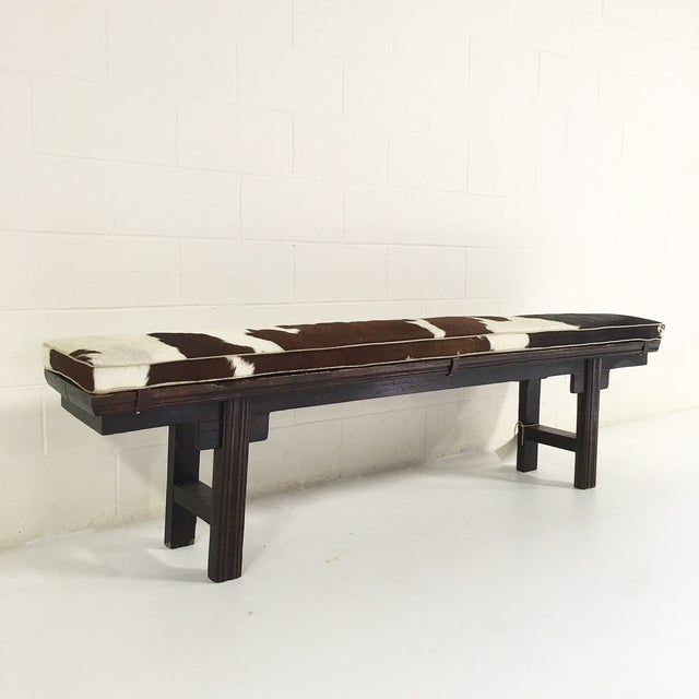 Vintage Chinese Bench with Cowhide Cushion - Image 2 of 8
