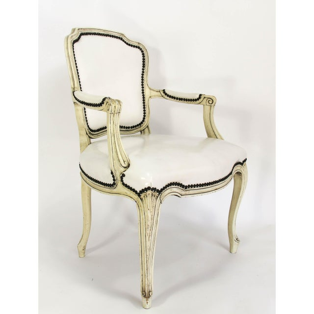 Mid-20th Century Boho Chic Carved Wood and White Leather Arm Chairs - a Pair - Image 2 of 13