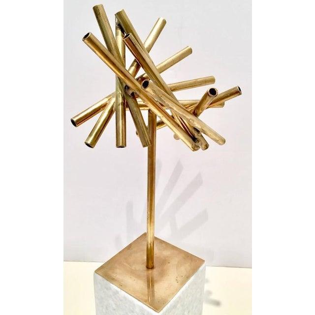 Modern Brass & Marble Abstract Tubular Sticks Sculpture - Image 4 of 9