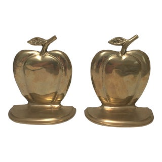 Solid Brass Apple Bookends - a Pair For Sale